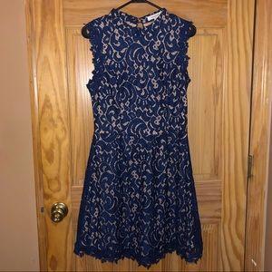 NWT Francesca's High Neck Navy Blue Lace Dress